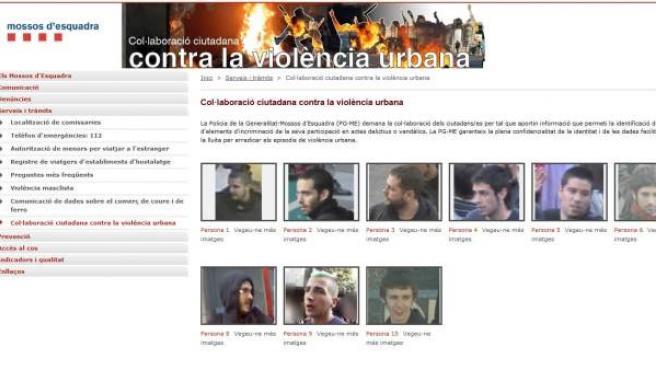 Web de los mossos para denunciar a los 'vándalos' del 29-M.