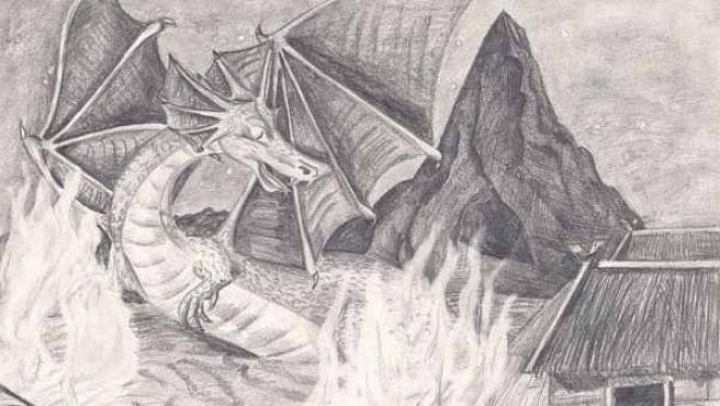 Ilustración del dragón Smaug, personaje de la obra de Tolkien 'El Hobbit'.