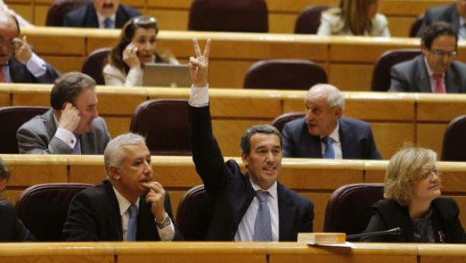 El senador Antolín Sanz (PP), en el pleno del Senado que ha debatido el Proyecto de ley de Estabilidad Presupuestaria.