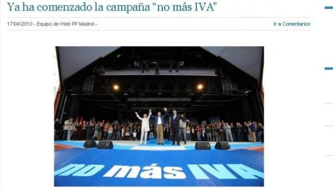 Captura de la web del PP de Madrid en la que aparece la campaña 'No más IVA' defendida por Mariano Rajoy y Esperanza Aguirre en abril de 2010.