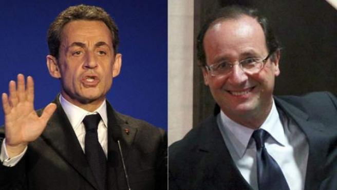 Combo de imágenes de los dos principales candidatos a las elecciones presidenciales francesas, Nicolas Sarkozy (izquierda) y François Hollande.