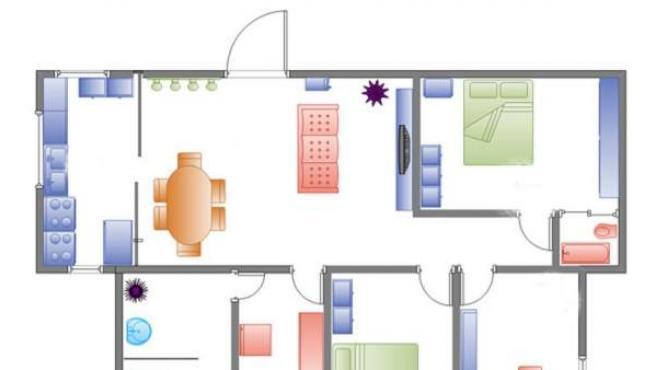 Dibujo sobre plano de una vivienda de dos dormitorios.