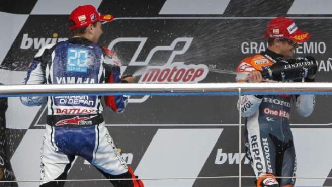 Jorge Lorenzo y Casey Stoner celebran el podio del Gran Premio de Jerez.