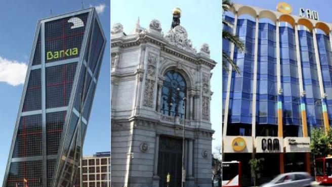 Bankia (izquierda), la sede central del Banco de España (centro) y la Caja de Ahorros del Mediterráneo (CAM).