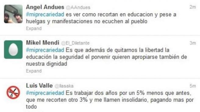 Algunos tuits que los internautas han escrito sobre #MiPrecariedad.