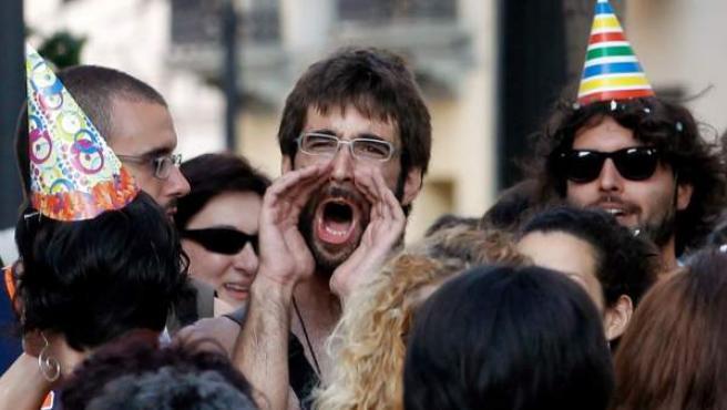 Varios 'indignados', durante una protesta.