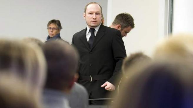 El ultraderechista y fundamentalista cristiano Anders Behring Breivik, durante el juicio en Oslo.