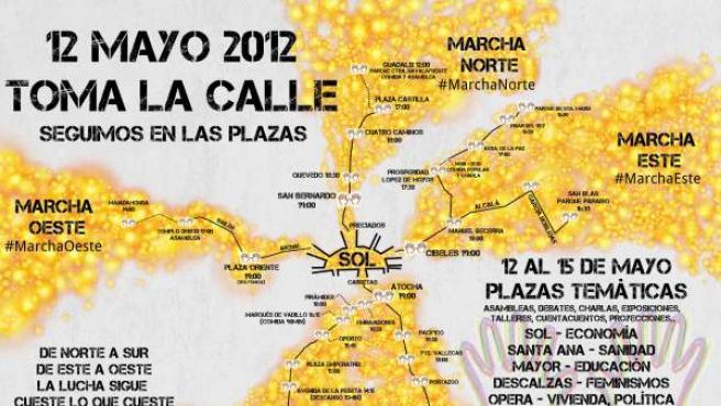 Mapa de la convocatoria de manifestación del 12-M en Madrid.