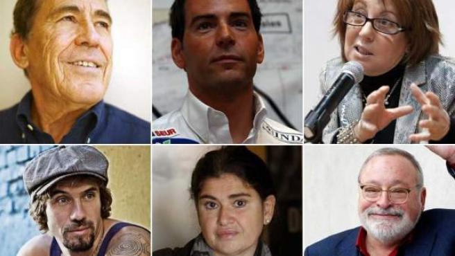 Sánchez Dragó, David Meca, Rosa Villacastín, Macaco, Lucía Etxebarría y Fernando Savater (de izda. a dcha. y de arriba abajo).