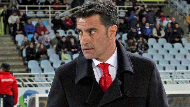 Míchel en un partido del Sevilla.