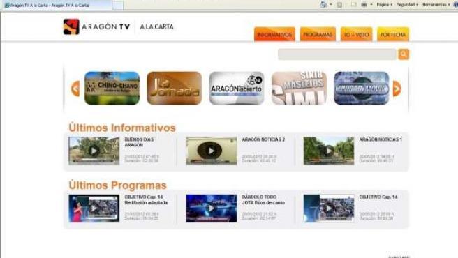 Pantallazo De A La Carta De Aragón TV