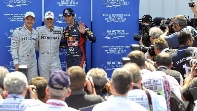 Schumacher, Webber y Rosberg fueron los más rápidos el sábado.