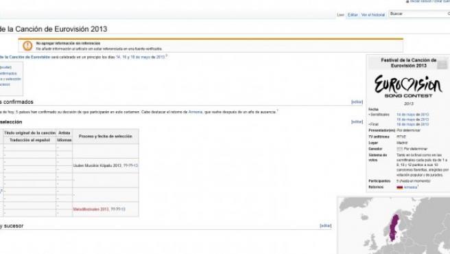 En Wikipedia aparecía una página (antes de celebrarse el festival de este 2012) en el que ya se daban detalles sobre Eurovisión 2013, entre ellos, que se celebrará en Madrid.