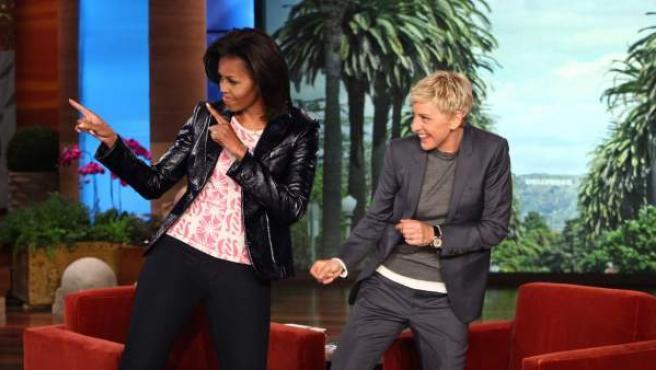 La primera dama, Michelle Obama, en el programa de Ellen DeGeneres.