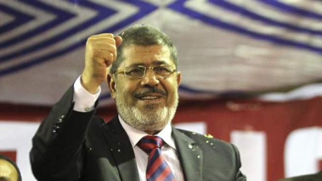 Fotografía realizada el 17 de mayo de 2012 en el que aparece el candidato a la presidencia de Egipto Mohammed Morsi.