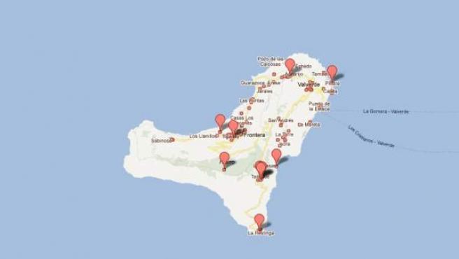 Una imagen de la isla de El Hierro en Google Maps.