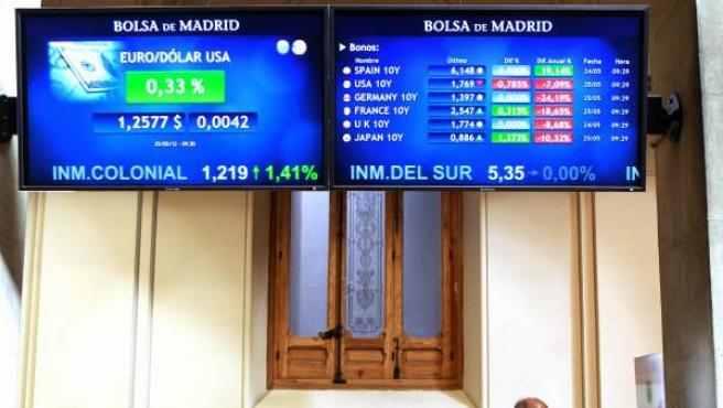 Pantallas informativas de la prima de riesgo en la Bolsa de Madrid.