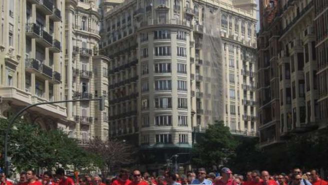 Trabajadores De La EMT En Una Protesta Reciente Por El Centro De Valencia