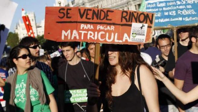 Una manifestación contra los recortes en Educación.