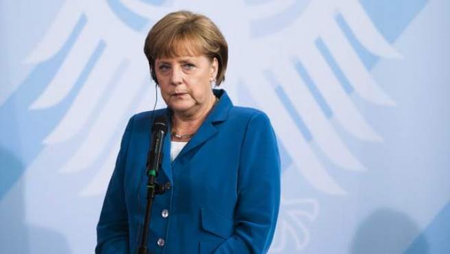 Angela Merkel, en un acto con medios de comunicación.