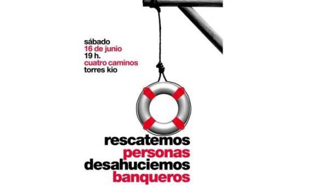"""Cartel de la marcha por el """"rescate ciudadano"""" hasta la sede de Bankia."""