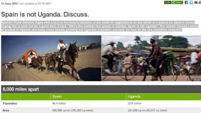 La web de la BBC, en su comparativa de Uganda con España.