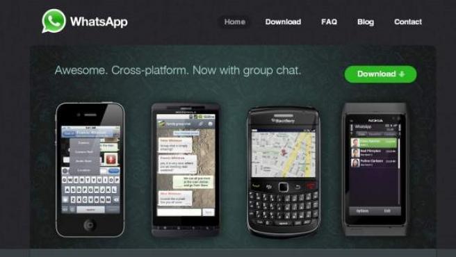 Página web de la aplicación Whatsapp.