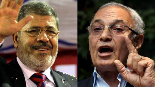 El candidato presidencial islamista Mohammed Morsi (i) el 17 de mayo en Banha, Egipto, y el candidato procedente de la 'era Mubarak' Ahmed Shafik (d).