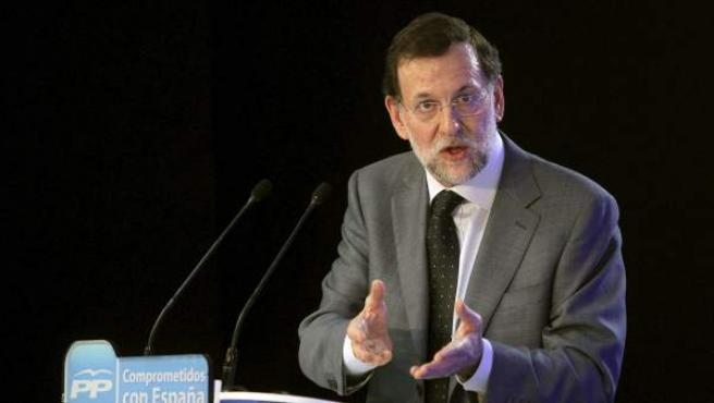 El presidente del Gobierno y líder del PP, Mariano Rajoy, durante su intervención en la XVII Unión Interparlamentaria del Partido Popular.