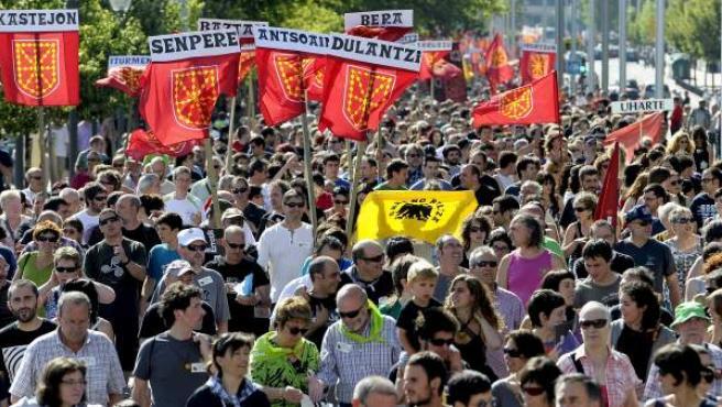 Manifestación en Pamplona para reivindicar la soberanía de Navarra.