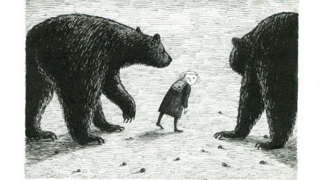 Dibujo de Gorey del libro 'The Gashlycrumb Tinies', traducido como 'Los pequeños macabros'