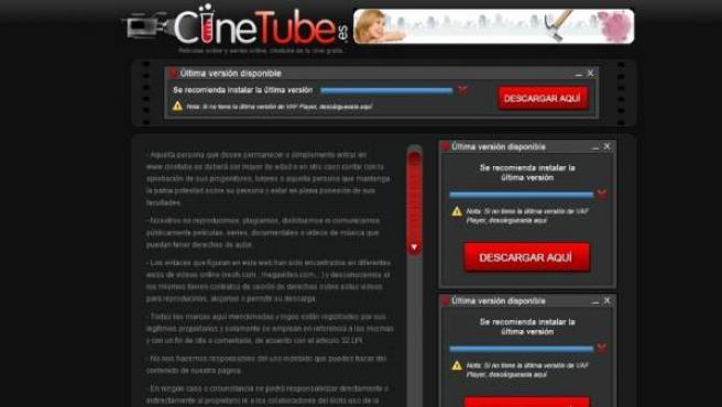 La página web de enlaces Cinetube.