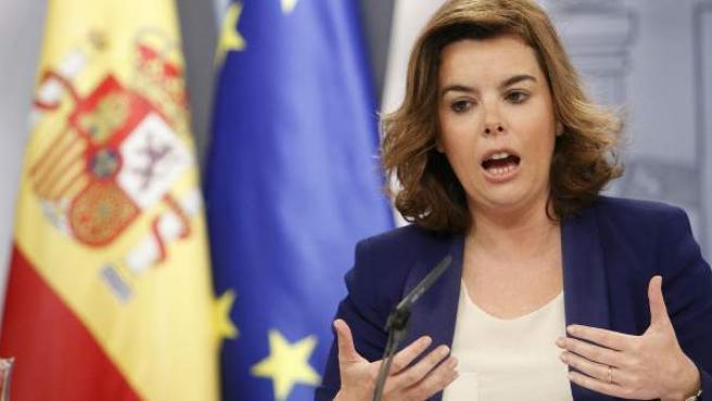 Soraya Sáenz de Santamaría, en rueda de prensa tras el Consejo de Ministros.