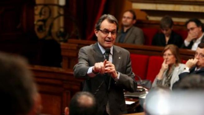 Artur Mas, en la sesión de control al president, en el Parlamento de Cataluña.