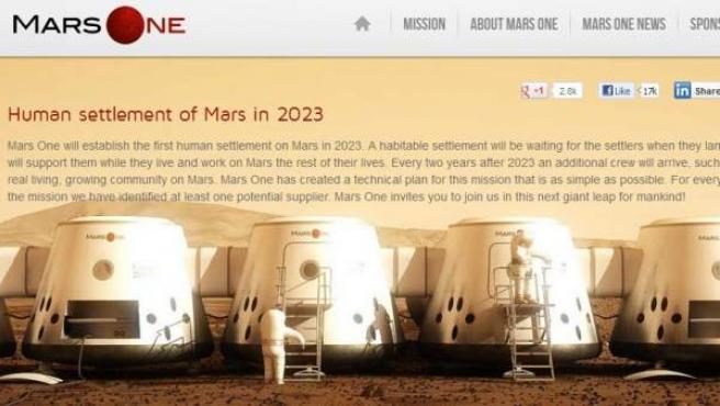 Página web del proyecto de Bas Lansdorp para 2013 en Marte.