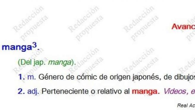 Definición de 'cómic manga' segúna la RAE.