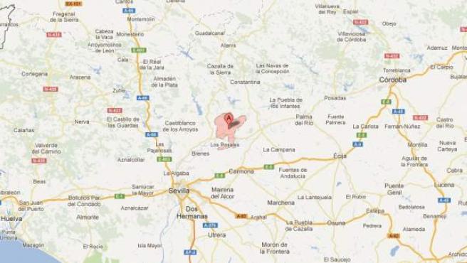 Situación geográfica del municipio sevillano Villanueva del Río y Minas