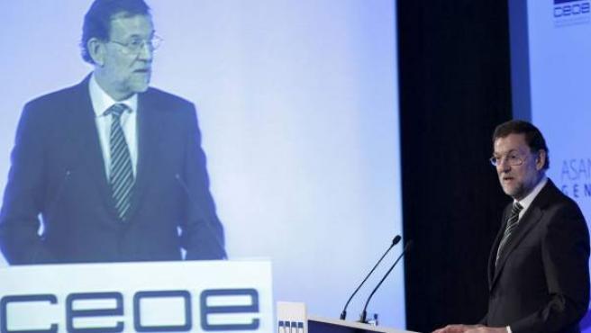 El presidente del Gobierno, Mariano Rajoy, durante su intervención en la clausura de la asamblea general ordinaria de la CEOE.