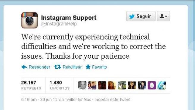 Mensaje de Instagram en Twitter donde informa de problemas técnicos en el servicio.