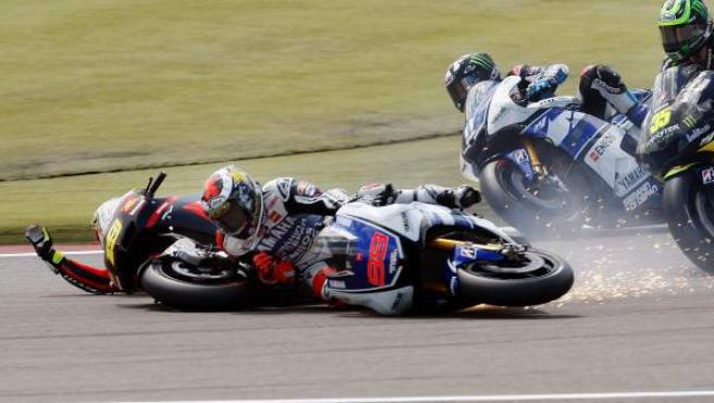 El piloto de Yamaha, Jorge Lorenzo, en un accidente en Assen.