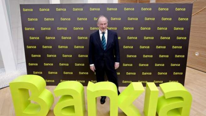 El expresidente de la entidad, Rodrigo Rato, durante la presentación de Bankia.