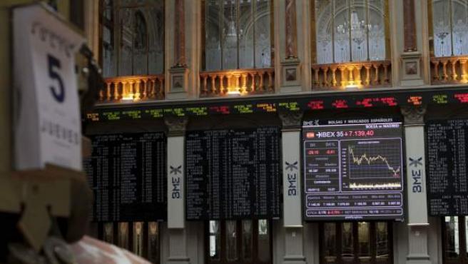 La Bolsa de Madrid durante una de sus jornadas.