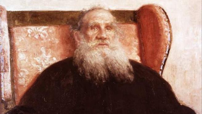 Retrato de León Tolstói en 1909, realizado por I. E. Repin, que se encuentra en el museo del escritor en Moscú.