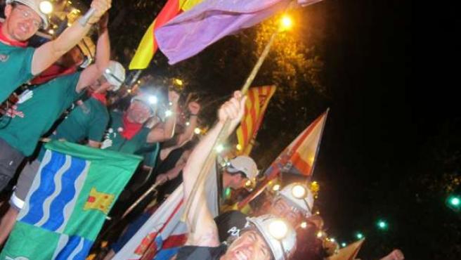 Marcha minera nocturna por las calles de Madrid