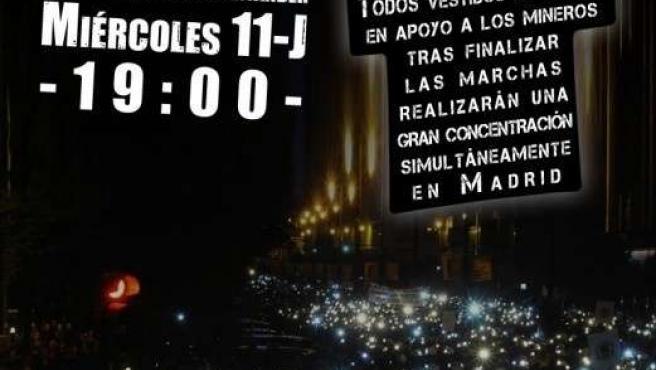 Cartel de la Concentración en apoyo a los mineros en Santander