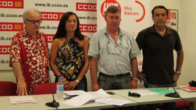 Ginés Díez y Ángeles Sánchez de CCOO y Antonio Copete y José García de UGT