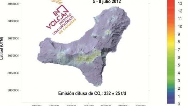 Distribución espacial de la emisión difusa de CO2