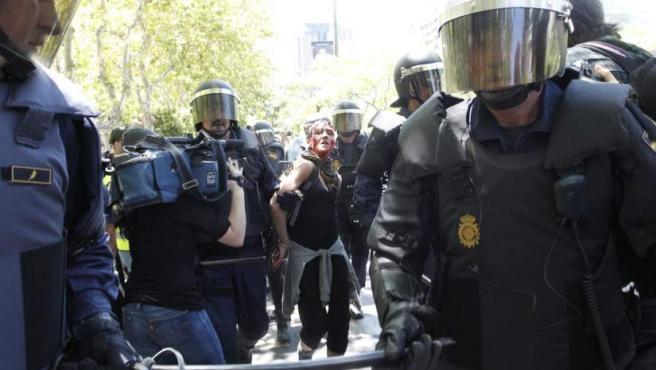 Imagen de uno de los heridos que se han producido durante la manifestación de los mineros en la capital.