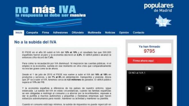 Web 'Nomasiva.org' impulsada por Esperanza Aguirre en 2010.