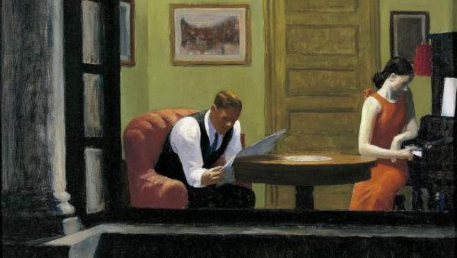 Una fotografía de la obra 'Habitación en New York' (1932), de Edward Hopper.